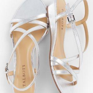 Talbots Capri Crisscross Sandals Silver 6.5 NEW